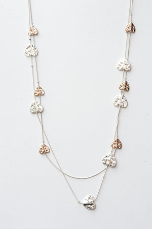 Long Delicate Rose Gold & Silver Heart Bead Necklace