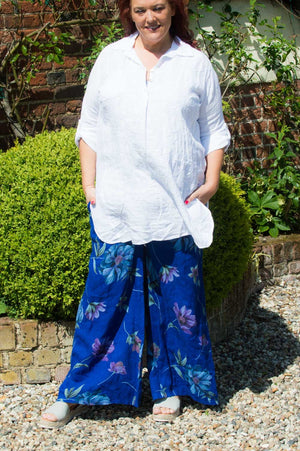 Royal Blue Floral Linen Trousers
