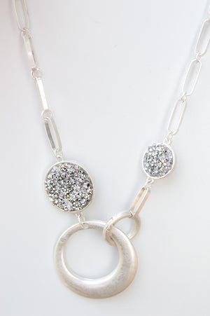 Short Silver Glitter Gem Chain Necklace