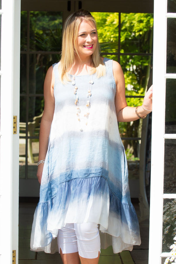 Grey & Blue Tie-Dye Waterfall Dress/Top
