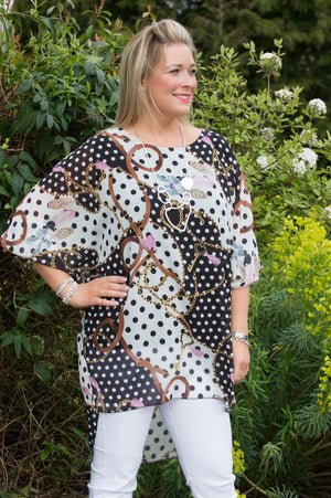 Black Chain & Feather Print Polka Dot Blouse