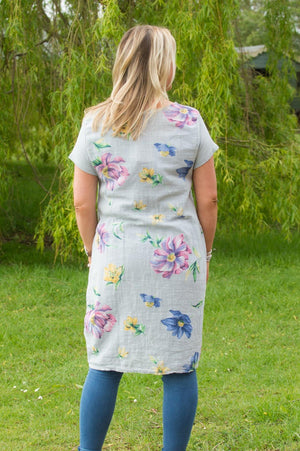 Light Grey Colourful Floral Linen Dress