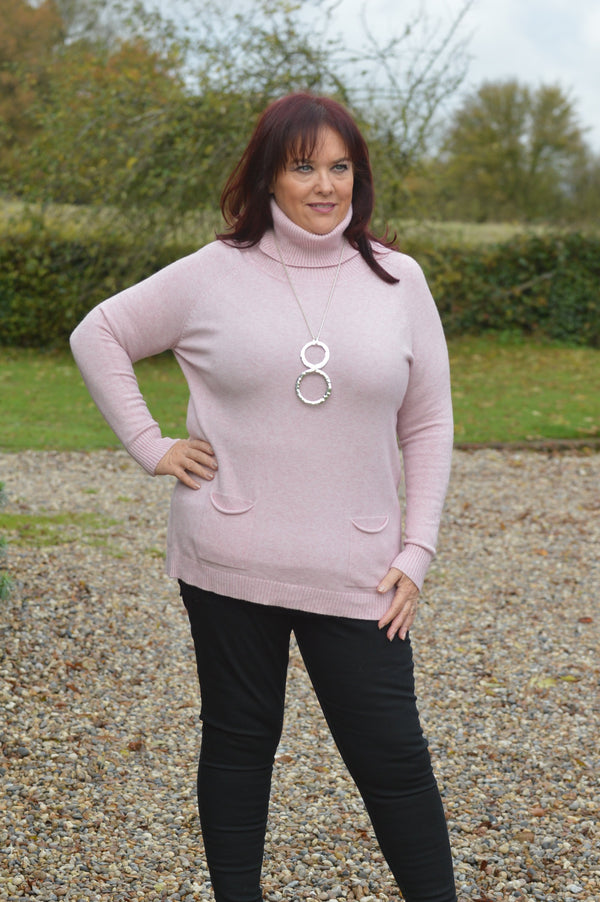 Light Pink Soft Double Pocket Roll Neck
