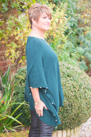 Forest Green Pearl Detail Poncho