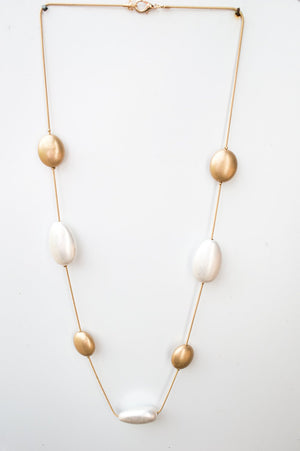 Long Gold and Silver Scatter Bead Necklace