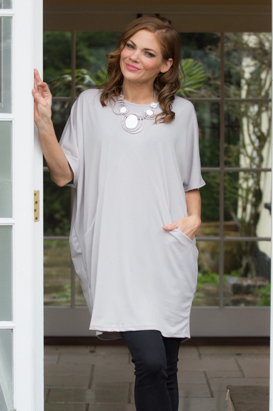 Light Grey Tapered Batwing Top