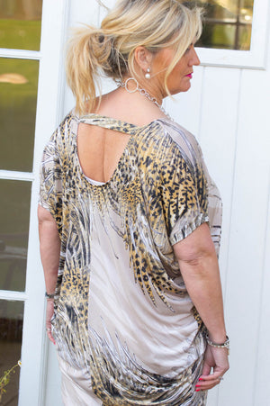 Beige Feather Print Tapered Top/Dress