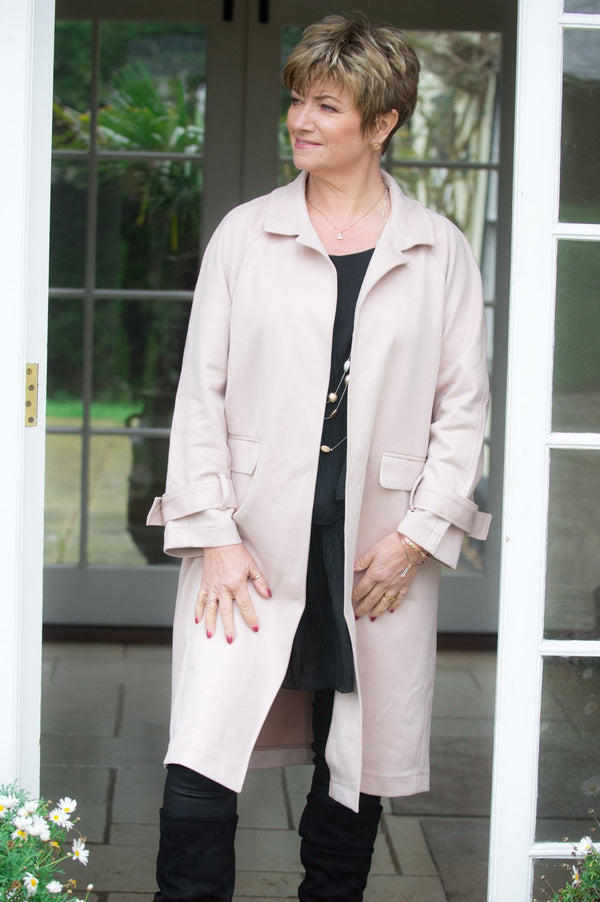 VIP Soft Pink Faux Suede Trench Coat