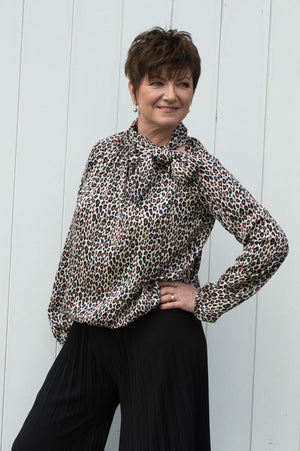Beige & Orange Leopard Print Bow Blouse
