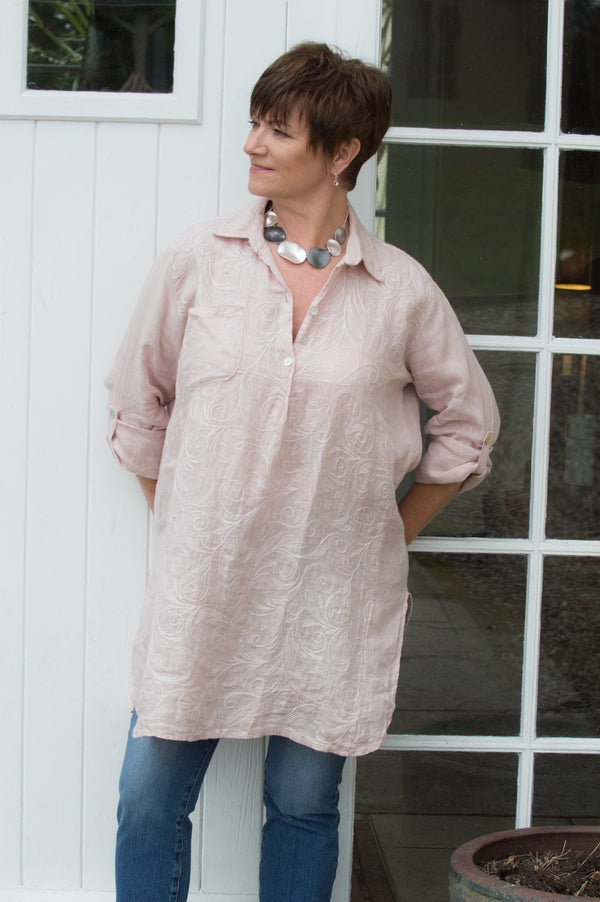 Blush Pink Floral Stitch Linen Shirt