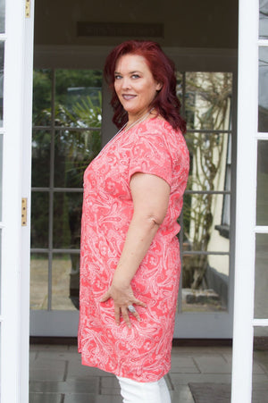 Coral Paisley Dress Curve