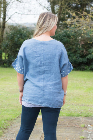 Denim Polka Dot Linen Top Curve