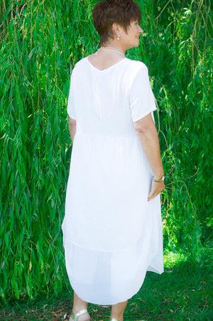 White Panelled Top/Dress