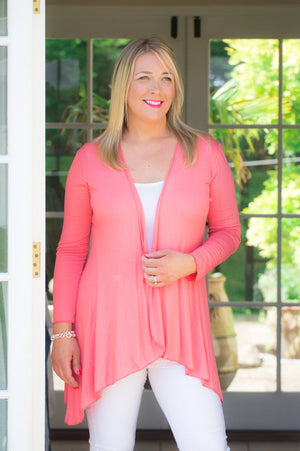 Coral Lightweight Jersey Cardigan