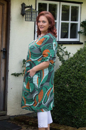 Green, Black and Orange Abstract Print Dress
