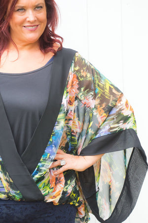 Black Abstract Floral Wrap Top