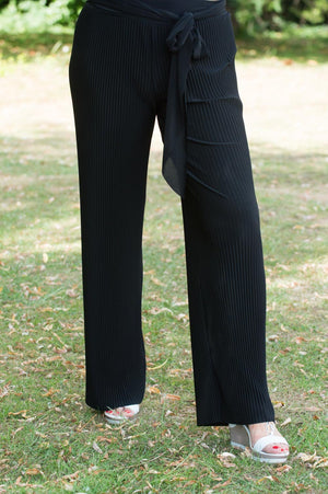 Black Pleated Floaty Trousers - Mandy's Heaven