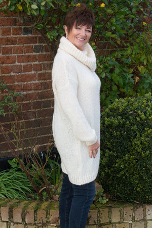 Cream Roll Neck Knitted Midi Jumper - Mandy's Heaven