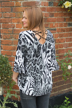 Black and White Animal Print Bell Sleeve Top - Mandy's Heaven