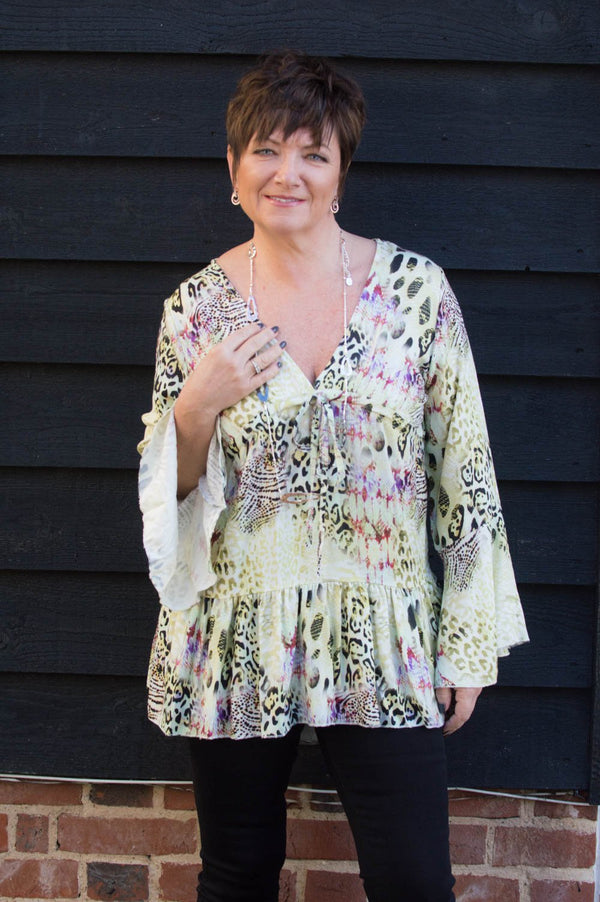 Lime Animal Print Smock Top