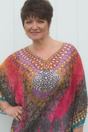 Pink And Teal Lola Kaftan