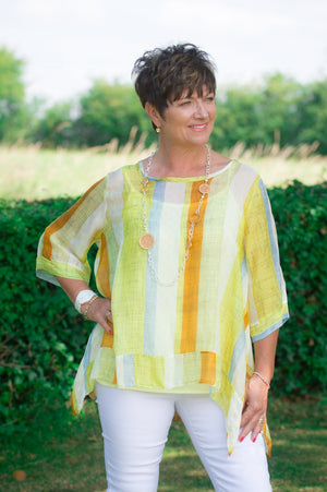 Yellow Striped Stitch Top