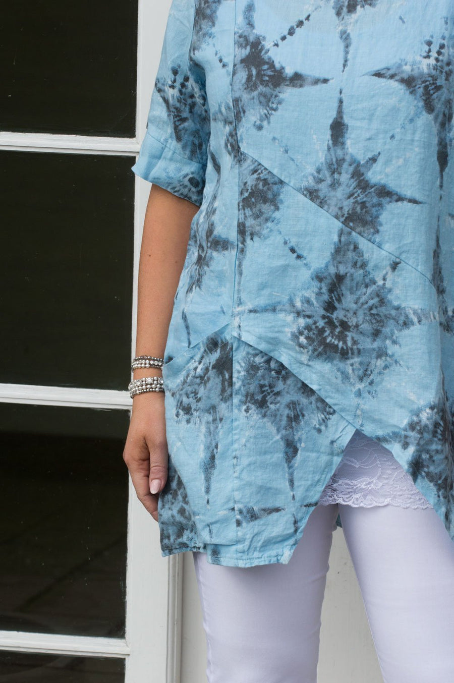 Light Blue Wrap Detail Linen Tunic