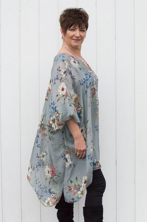 Grey Floral V Neck Silk Blouse