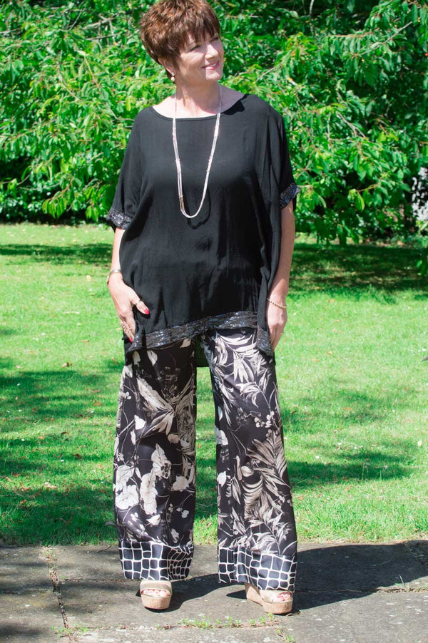 Black & Gold Floral Trousers