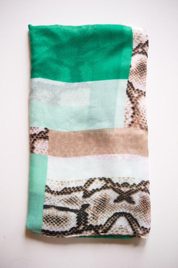 Green Patched Animal Print Scarf