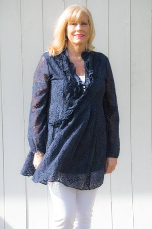 Navy Boho Lace Shirt/ Dress