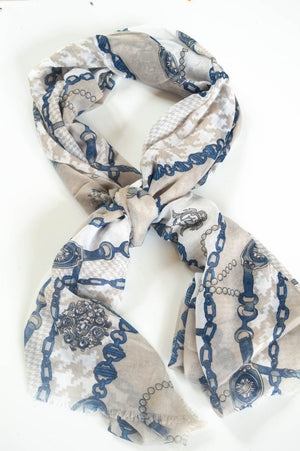 Taupe Chain Print Scarf