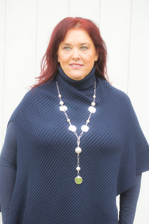 Navy Side Split Poncho