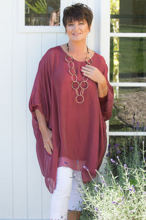 Burgundy Silk Top - Mandy's Heaven