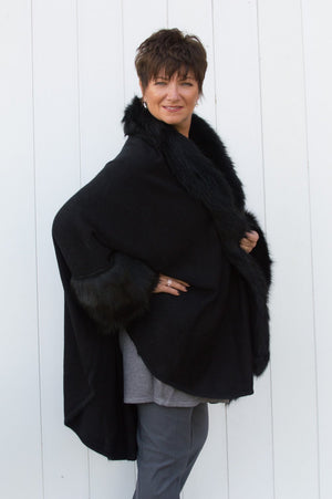VIP Black Faux Fur Sleeved Wrap