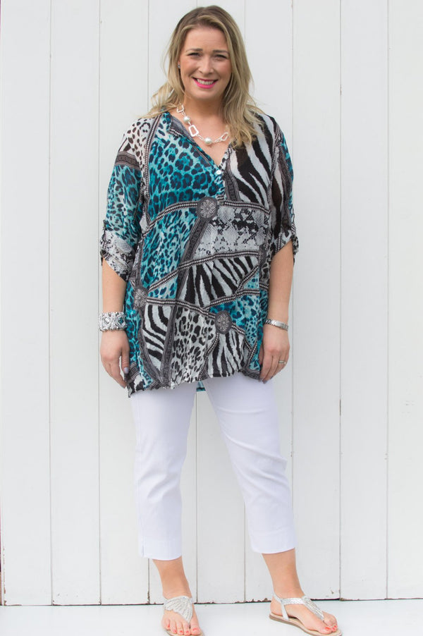 Turquoise Animal & Tapestry Print Shirt