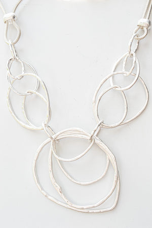 Short Silver Abstract Shape Necklace