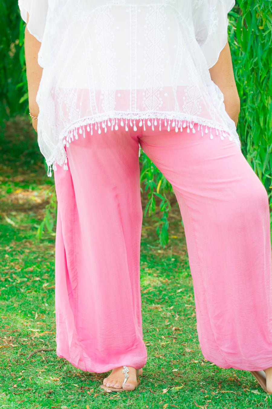 100% Silk Hot Pink Floaty Trousers