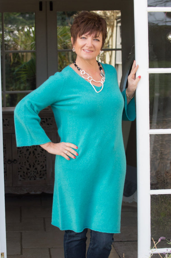 Emerald Green Flute Sleeve Long Jumper
