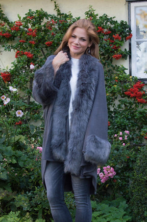 VIP Dark Grey Faux Fur Sleeved Wrap