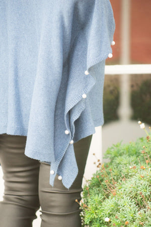 Denim Blue Pearl Detail Poncho