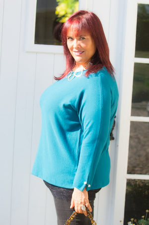 Teal Diamante Cuff Jumper