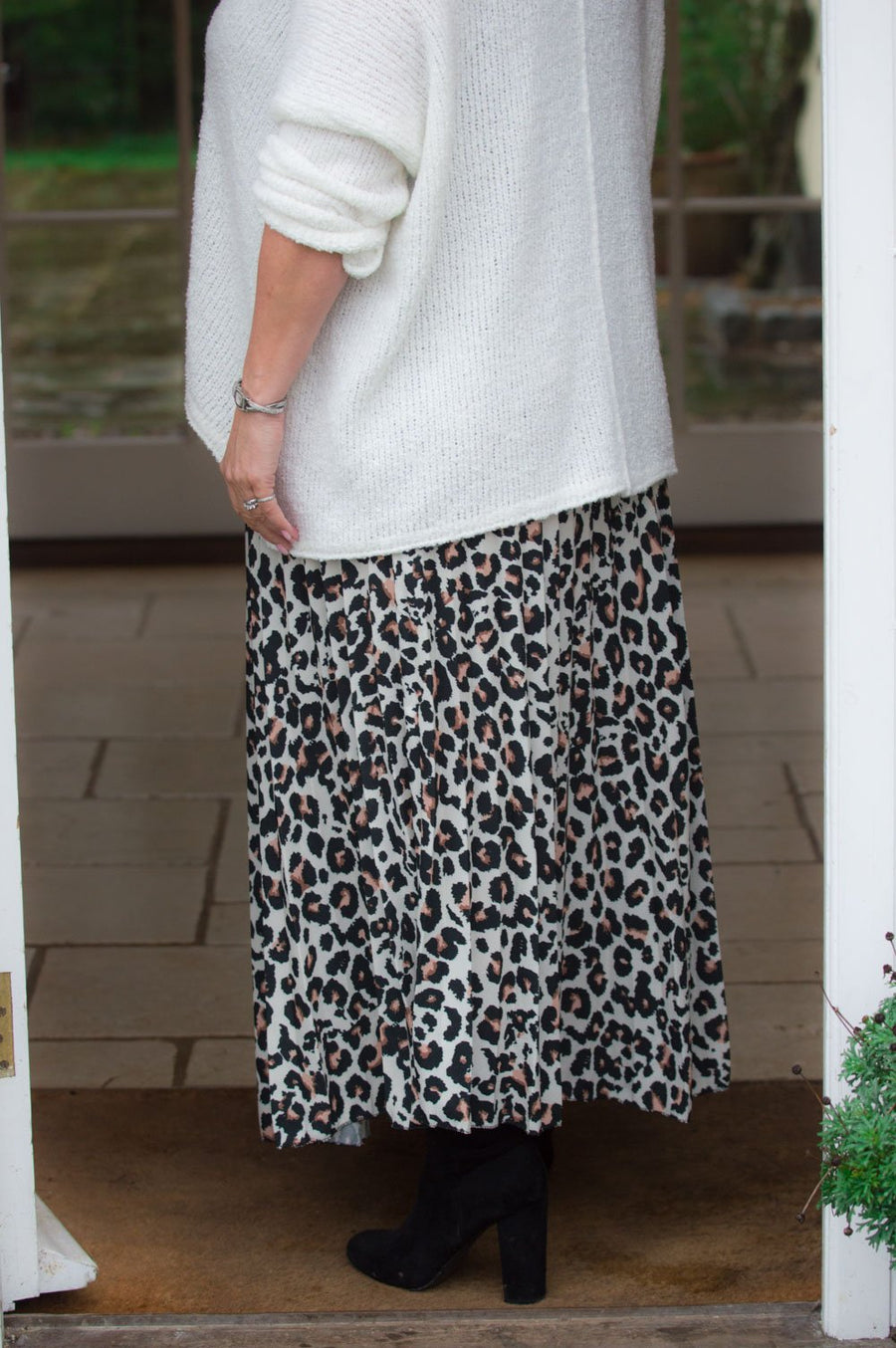 Cream Leopard Print Pleated Midaxi Skirt
