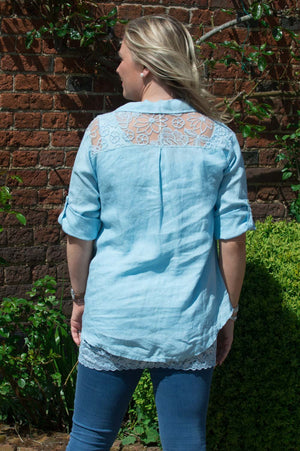 Light Blue Floral Back Detail Linen Shirt