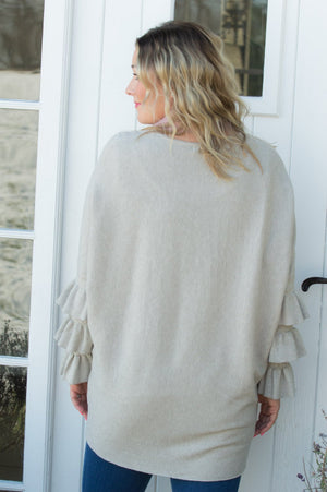 Beige Frill Sleeve Ribbed Jumper Curve - Mandy's Heaven