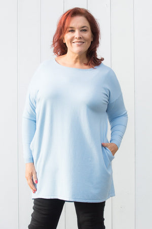 Sky Blue Button-up Waterfall Jumper Curve