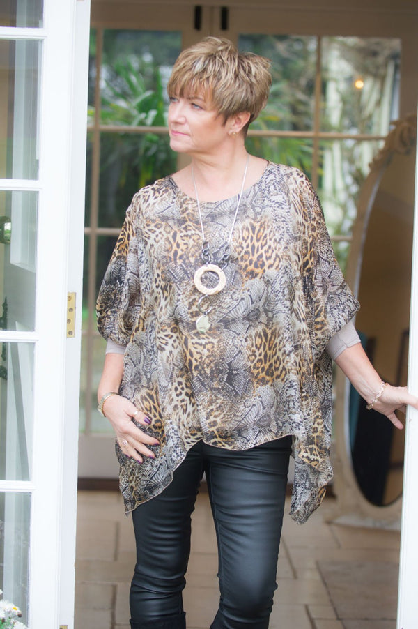 Animal Print Waterfall Silk Layered Blouse