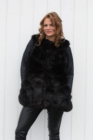 Black VIP Faux Fur Gilet - Mandy's Heaven