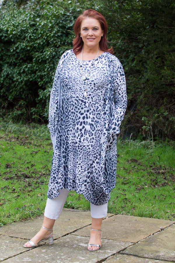Light Grey Animal Print Waterfall Cardigan Curve