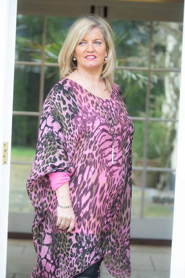 Fuchsia Animal Print Silk Floaty Waterfall Top